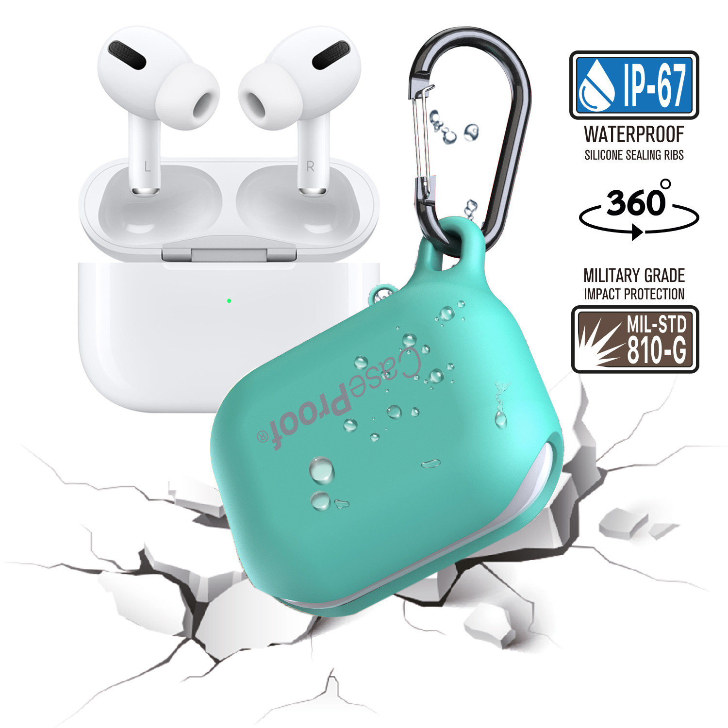 Airpods Waterproof Case For Airpods Celadon Blue